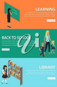 Learning and back to school library poster with orange, green and blue backgrounds. Vector web set of teacher writing on blackboard, mother with children going to school and girl choosing book