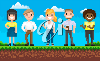 Group of man and woman characters standing on grass, portrait view of smiling superheroes, pixel game, team on adventure platform, choose hero vector. People for pixelated 8 bit games