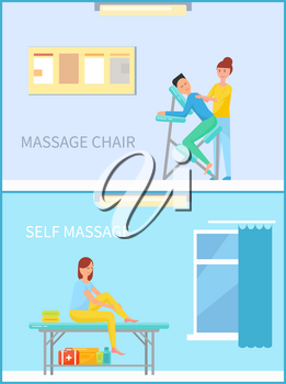 Massage chair and self massaging woman vector. Lady rubbing her leg, first aid to ankle, people helping themselves. Masseuse and client back treatment