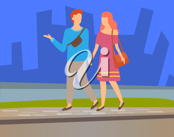 Happy couple walking together on background of skyscrapers, vector lovers on walk. Man and woman holding hands spend time together, cartoon style people. Flat cartoon