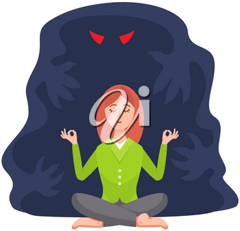 Calm woman and shadow monster behind her. Fear of darkness. Female meditates near spooky ghost with angry red eyes from nightmare, character struggles with her fears, an imaginary monster shadow