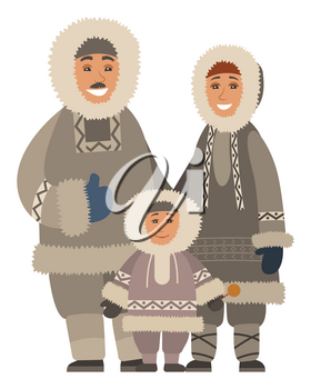 Arctic smiling family in warm traditional clothes standing together. Happy parents and kid wearing fur coat and mittens for Alaska weather. Portrait view of mother, father and son embracing vector