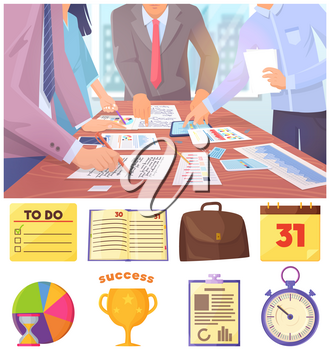 Business meeting in office. Hands write and point fingers at documents and tablet. Golden cup, stopwatch, calendar, notebook, hourglass, pie chart, glider, writing board and satchel business icons