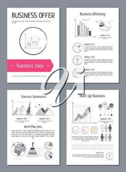 Statistics data and business efficiency analysis four posters with data represented by graphs and diagrams. Vector illustration of posters on white backgrounds