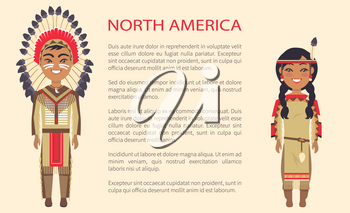 North america traditional costumes in which man and woman are dressed, vector international day poster ethnic people with text, native indians
