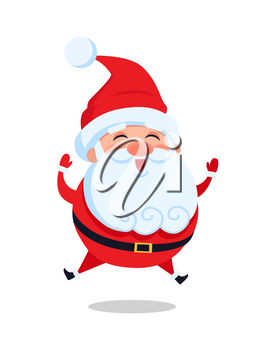 Happy jumping Santa Claus vector illustration isolated on white background. Father Christmas leaps in air greeting everyone and smiling from joy