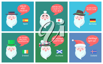 International Santa Clauses in ethnic headdresses greet with New Year in foreign languages festive posters cartoon vector illustrations set.