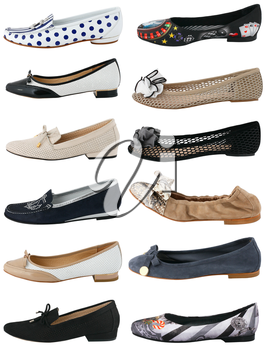 Collection of women's shoes on white