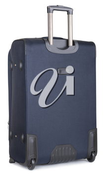 back side blue suitcase, isolated on white. clipping paths