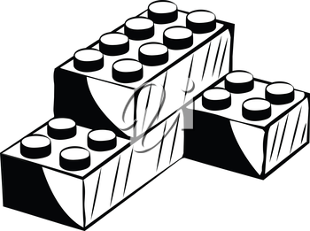 Three plastic building blocks interlocked to form a corner unit, black and white hand-drawn doodle illustration