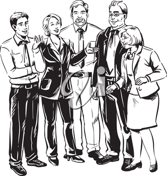 Group of business people having an informal meeting or conversation during a break standing laughing, mixed diverse men and women, black and white hand-drawn vector illustration
