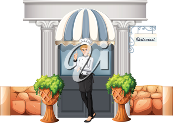 Illustration of a chef in front of the restaurant on a white background