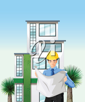 Illustration of an engineer outside the tall building