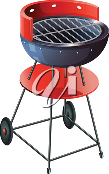 Illustration of a round barbeque grill on a white background