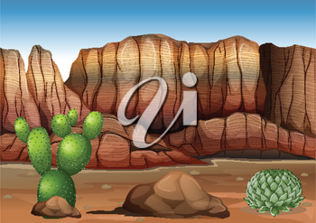 Illustration of a desert with cacti