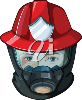 Illustration of a head of a fireman on a white background