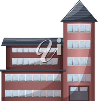 Illustration of a very tall building on a white background