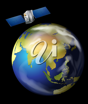 Illustration of an artificial satellite orbiting Earth