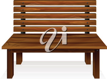 Illustration of a wooden bench on a white background