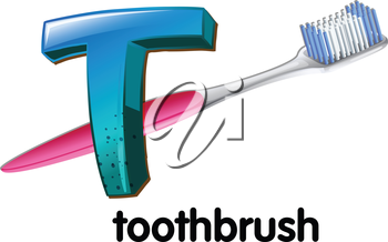 An image showing a letter T for toothbrush on a white background