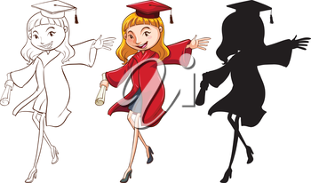 A girl graduating in three different colours on a white background