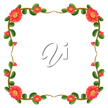 Illustration of a floral border with orange flowers on a white background
