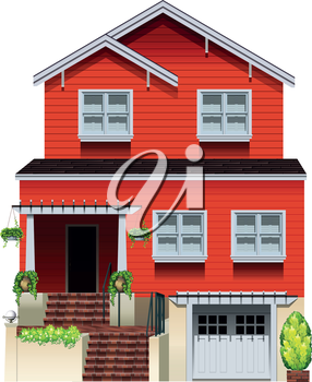 A big wooden house on a white background