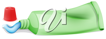 Illustration of a toothpaste in a tube on a white background