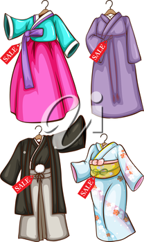 Asian costumes for sale on a white background