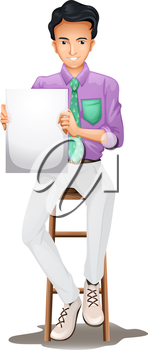 Illustration of a man sitting on a high chair while holding an empty signboard on a white background