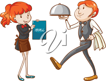Illustration of a waiter and a waitress on a white background
