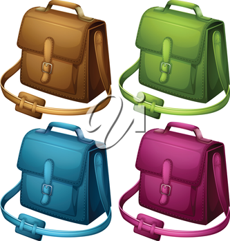 Illustration of the four colourful bags on a white background
