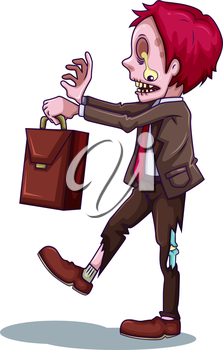 Illustration of a working zombie on a white background