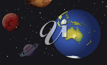 Illustration of the planets of the solar system