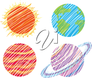 lllustration of the planet artworks on a white background