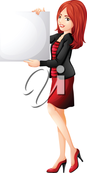 lllustration of a pretty woman holding an empty board on a white background
