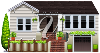 A house with decorative green plants on a white background
