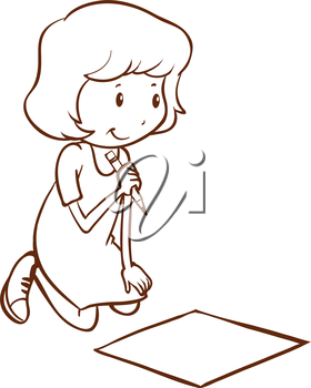Illustration of a simple girl writing on a white background