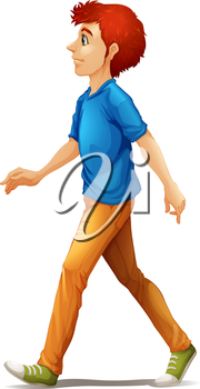 Illustration of a tall man walking on a white background