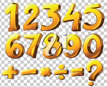 Illustration of the numbers and symbols on a white background