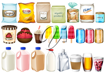 A group of foods and drinks on a white background