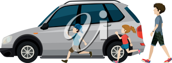 Kids running near the parked vehicle on a white background