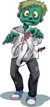Illustration of a scary male zombie on a white background