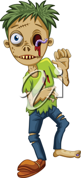 Illustration of a young male zombie on a white background