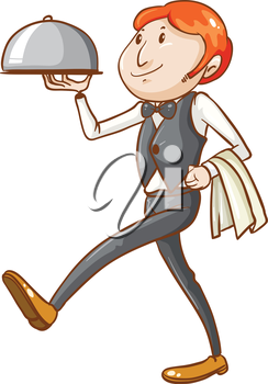 Illustration of a simple sketch of a waiter on a white background