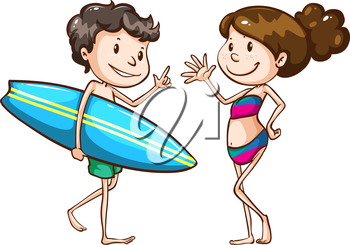 Illustration of a simple sketch of two people going to the beach on a white background