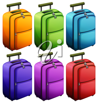 Illustration of the colourful suitcases on a white background