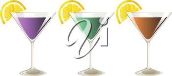 Illustration of the three glasses of cocktail drinks on a white background