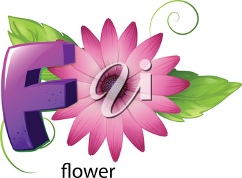 Illustration of a letter F for flower on a white background
