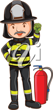 Illustration of a single fireman